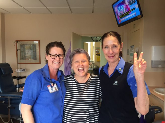 Me with my oncology nurses Nicole & Loretta