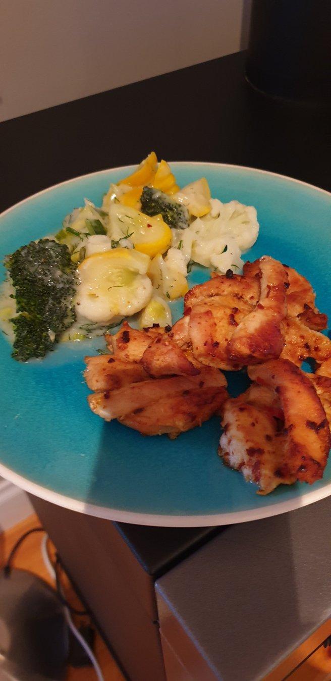 Chilli Chicken with creamy veg