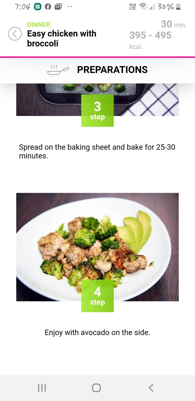 Roasted chicken & broccoli with avocado as dressing